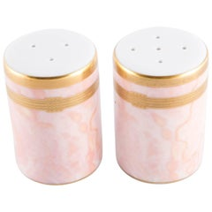 Christian Dior Salt and Pepper Porcelain Marble Pink Shakers Set