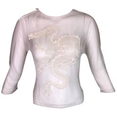 S/S 1997 Alexander McQueen Runway Sheer White Dragon Blouse Top