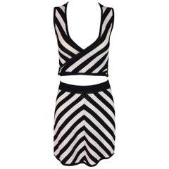 F/W 1995 Dolce & Gabbana Black & White Striped Wrap Crop Top & Skirt 40