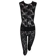 1990's D&G Dolce & Gabbana Sheer Black Mesh Lace Pin-Up Capri Leggings & Top