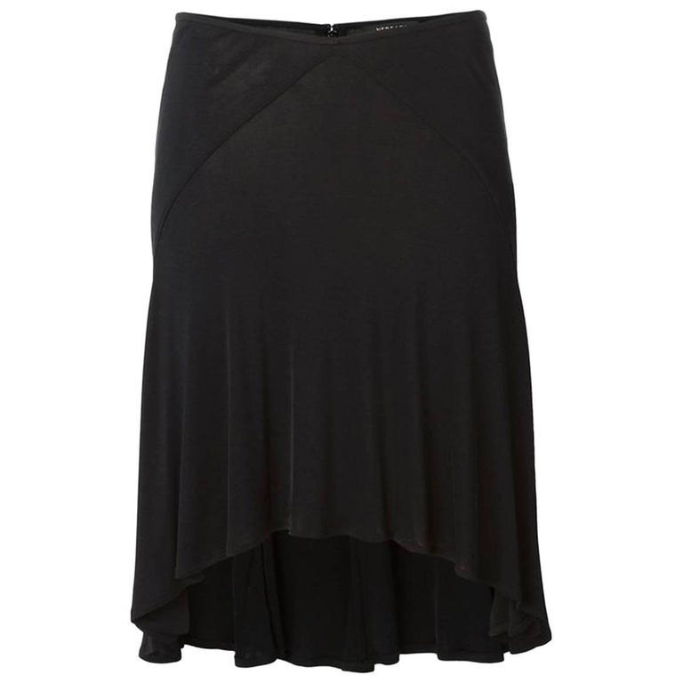 1980s Versace Black Silk Fluid Skirt  For Sale