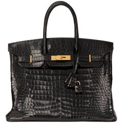 Hermès 2003 Black Shiny Porosus Crocodile Leather Birkin 35cm