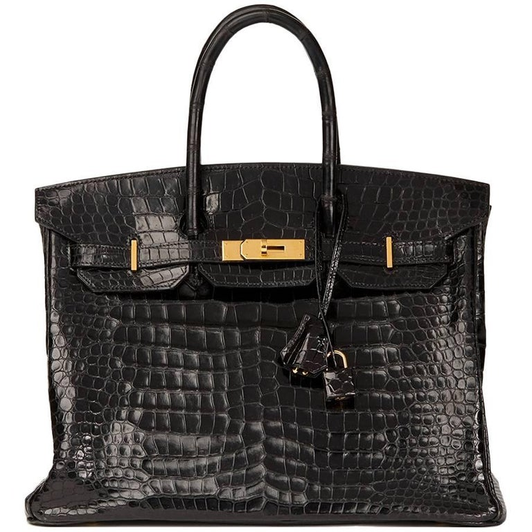 Hermès 2003 Black Shiny Porosus Crocodile Leather Birkin 35cm For Sale