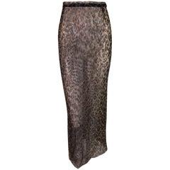S/S 1997 Dolce & Gabbana Sheer Leopard Mesh Pin-Up Pencil Skirt