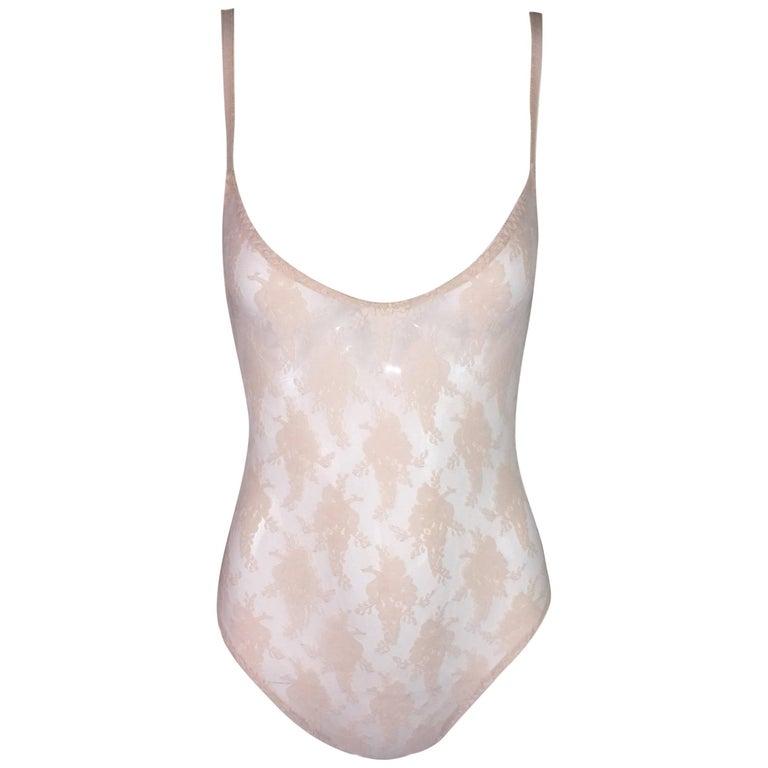 1990's Christian Dior Nude Flesh Color Sheer Mesh Bodysuit Top XS-M