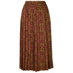 1970s Multico Yves Saint Laurent Pleated Wool Skirt