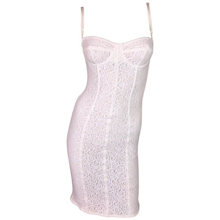 2005 Dolce & Gabbana Sheer Ivory Lace Wiggle Bra Pencil Dress XS S
