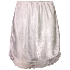 1990's Christian Dior Ivory Monogram Mini Slip Skirt XS-M