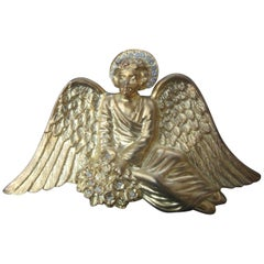 Massive Gilt Metal Crystal Winged Angel Brooch c 1980s