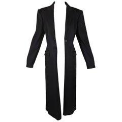 F/W 1998 Alexander McQueen 'Joan' Long Black Coat Jacket w/ Red Lining 44