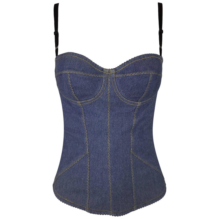 74c3e2fdf59 1996 Dolce and Gabbana Pin-Up Denim Bustier Corset Top 40 at 1stdibs