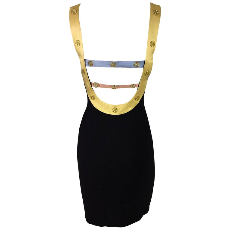 S/S 1992 Gianni Versace Couture Black Mini Dress w Embellished Back
