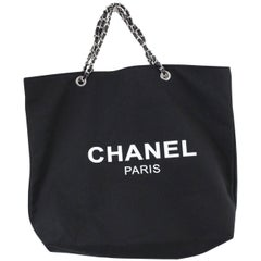 Chanel VIP Gift Tote Black Canvas Bag