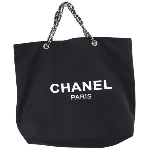 3c263ed5ccff Chanel VIP Gift Tote Black Canvas Bag at 1stdibs