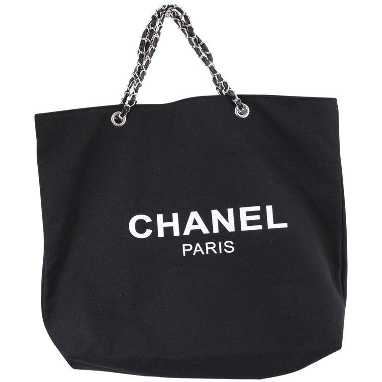 ddba37122695aa Chanel VIP Gift Tote Black Canvas Bag at 1stdibs