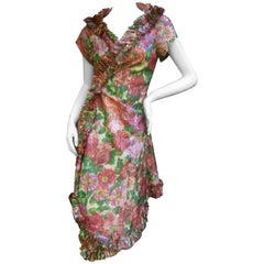 Lucie Ann Beverly Hills Taffeta Rose Print Wrap Dress c 1960
