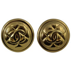 Chanel Gold Plated Logo Metal Earrings