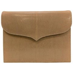 Lana Marks Tan Lizard Skin Structured Shoulder Bag Convertible Clutch