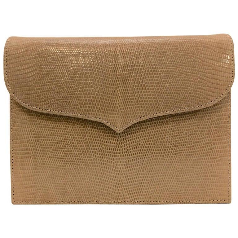 Lana Marks Tan Lizard Skin Structured Shoulder Bag Convertible Clutch