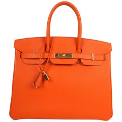 Hermes Birkin Bag Epsom 35 Orange H Gold-tone Hardware - orange