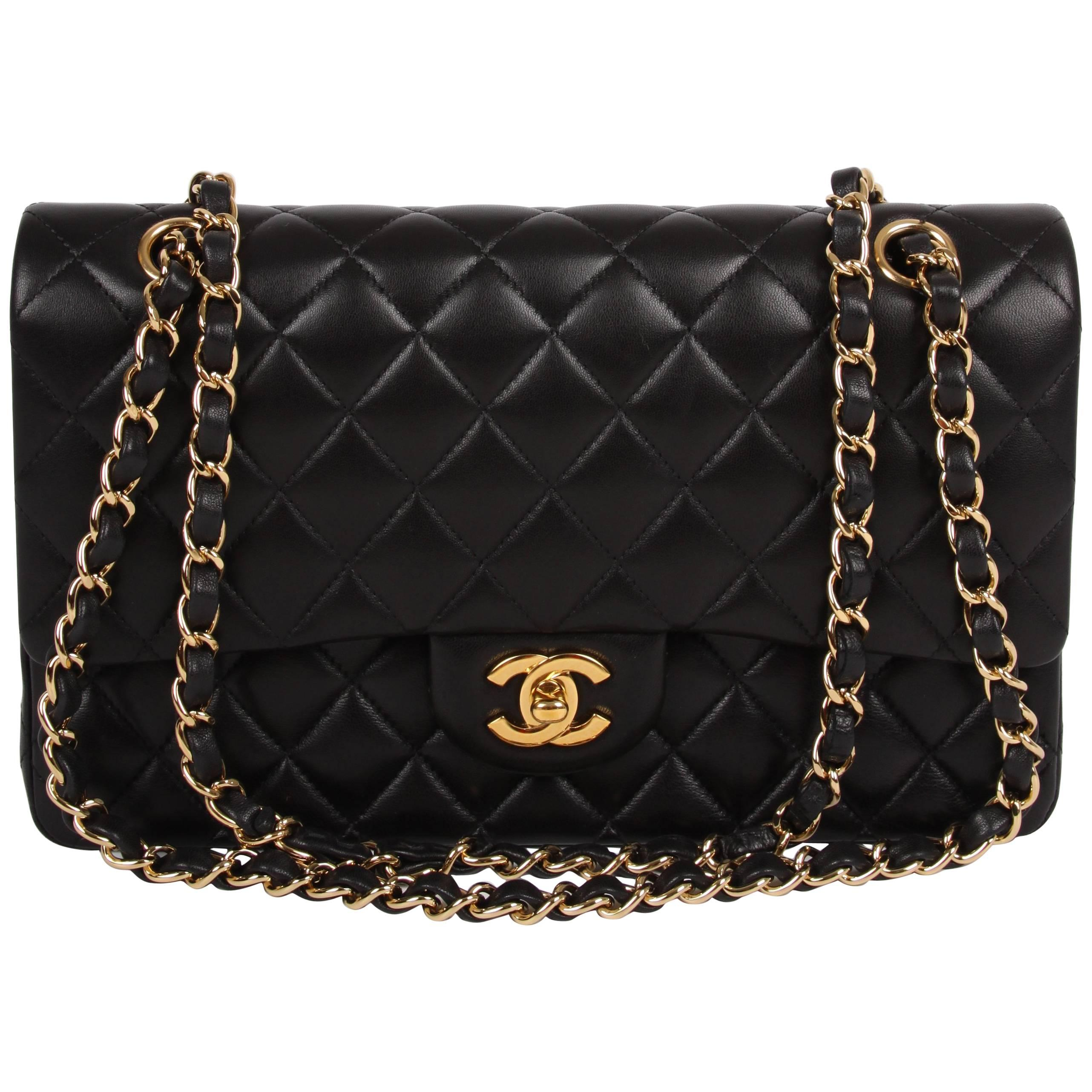 662ed20670a5e Chanel 2.55 Medium Classic Double Flap Bag - black gold at 1stdibs