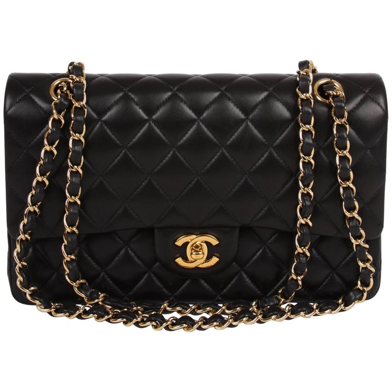 Chanel 2 55 Medium Classic Double Flap Bag Black Gold At