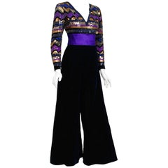1971 Pierre Balmain Haute-Couture Graphic Beaded Blue Velvet Jumpsuit & Jacket