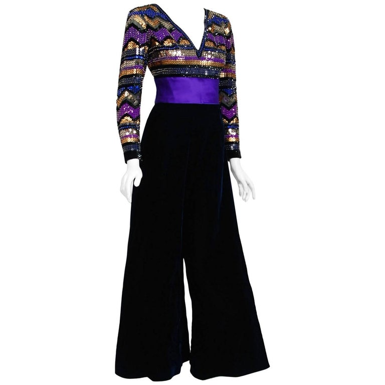 1971 Pierre Balmain Haute-Couture Graphic Beaded Blue Velvet Jumpsuit & Jacket