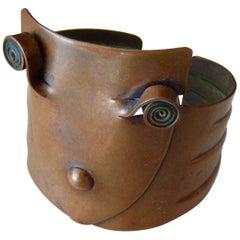 Rebajes Mid-Century Modern Copper Mask Cuff