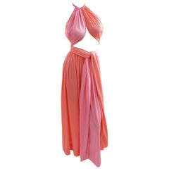 Donald Brooks Boutique Color Block Tie Wrap Halter Top & Maxi Skirt 2pc Set 70s