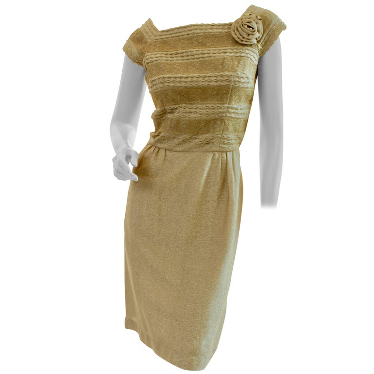 1950s Carlye for I.Magnin Gold Cocktail Dress with Embroidery Rosette Size S