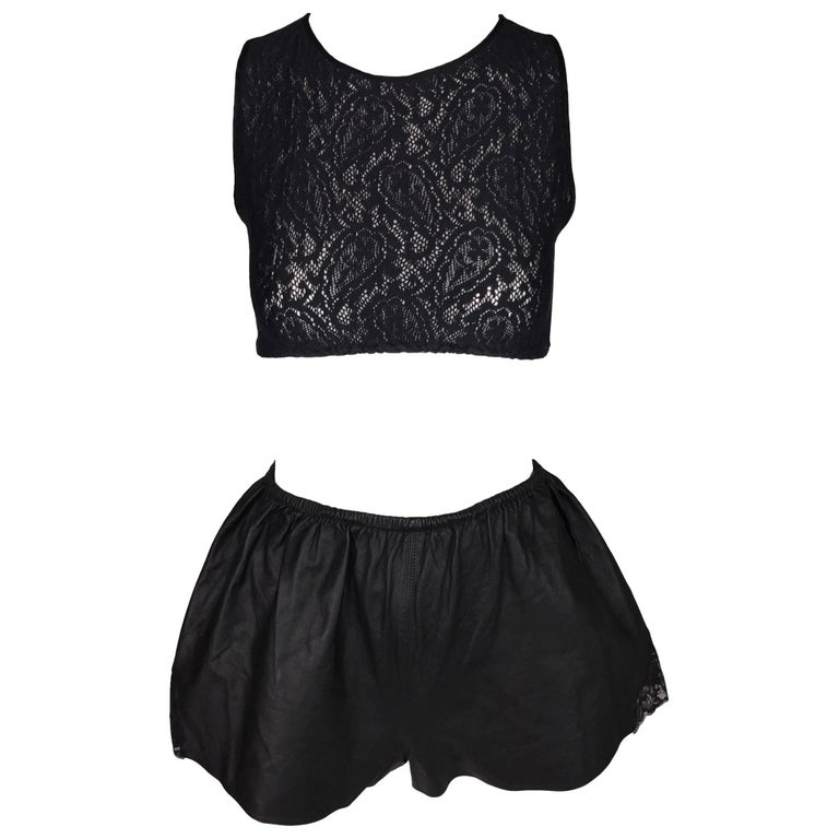 1980's Jean Paul Gaultier Cropped Lace Top High Waist Black Leather Shorty Short