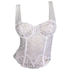 1990's Christian Dior Sheer White Lace & Mesh Corset Bustier Top