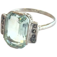 Art Deco Huge Aquamarine, silver and marcasite ring