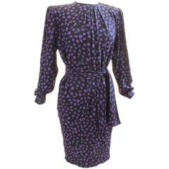Vintage Ungaro Belted Dress Silk Jacquard Purple Floral on Black Size 10