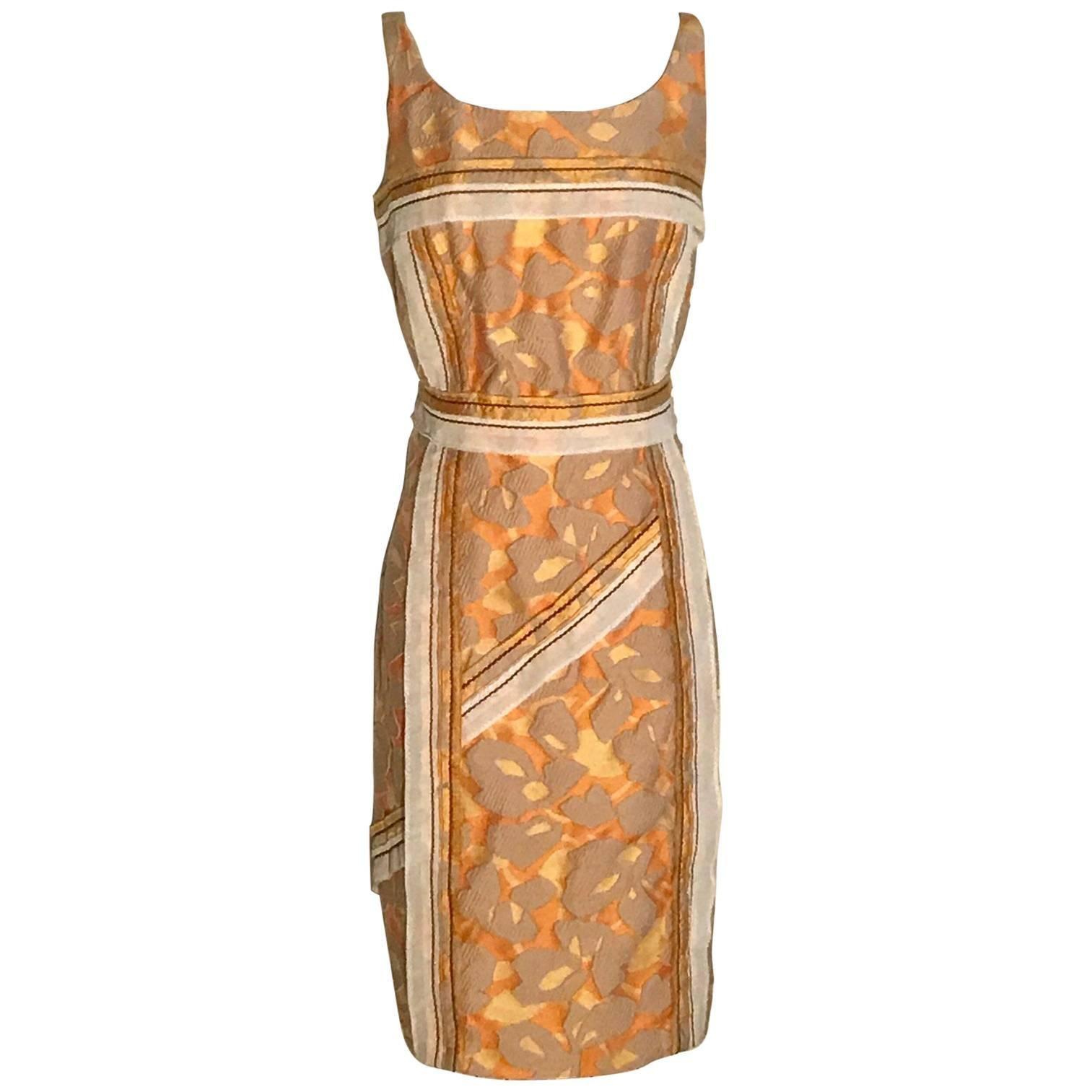 Prada 2015 Runway Yellow Orange Abstract Print Jacquard Dress with Trim Detail