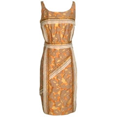 Prada Yellow Orange and Taupe Abstract Print Jacquard Dress with Trim Detail