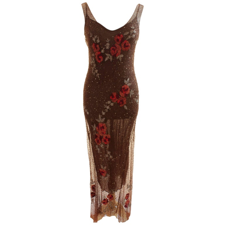 Brown Slip Dress with Sheer Overlay Floral Motif Embroidery Sz M Made in Italy