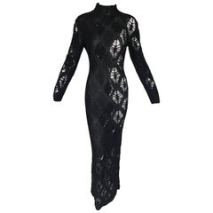 F/W 2002 NWT Gianfranco Ferre Sheer Knit Beaded Sequin L/S Long Gown Dress