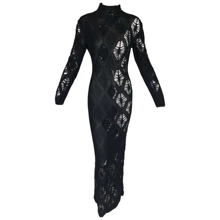 F/W 2002 NWT Gianfranco Ferre Sheer Knit Beaded Sequin L/S Long Gown Dress For Sale