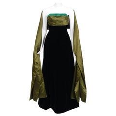 1957 Pierre Balmain Haute-Couture Black Velvet Olive Silk Strapless Gown & Shawl