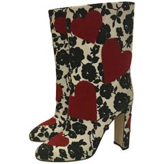 Dolce & Gabbana Boots Red Hearts on Black and White Rose Floral Print