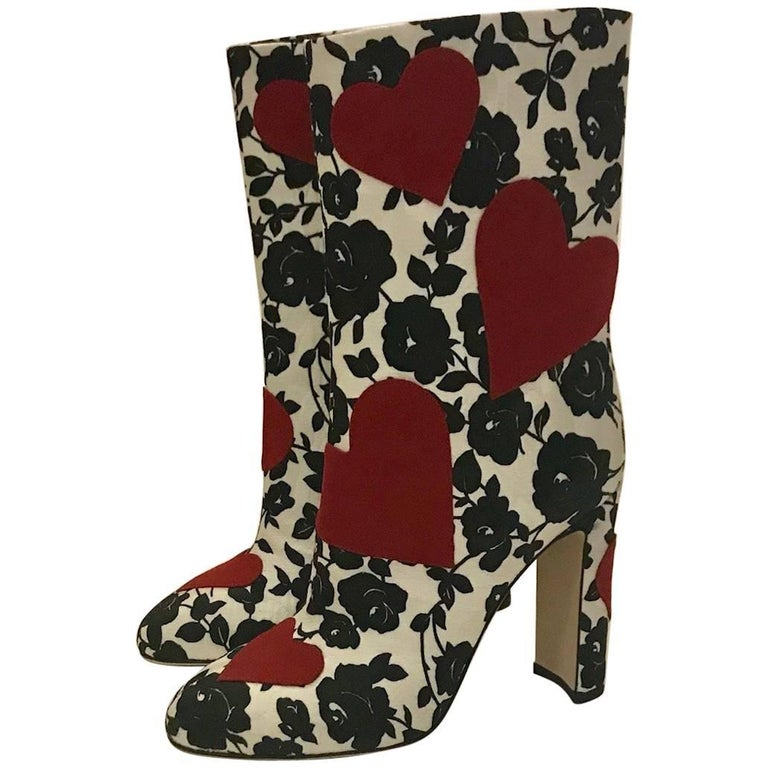 Dolce & Gabbana Red Hearts on Black and White Rose Floral Print Boots