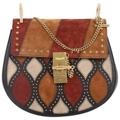Chloe Drew Crossbody Bag Studded Patchwork Suede with Leather Small