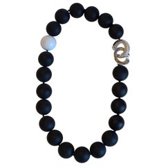 Patricia Von Musulin Black Onyx, White Coral, and Sterling Silver Necklace