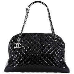 Chanel Just Mademoiselle Handbag Quilted Patent Maxi