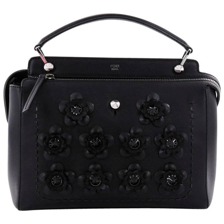 9a8579705fa4 Fendi DotCom Convertible Satchel Flower Studded Leather Medium For Sale