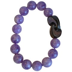 Patricia von Musulin Amethyst Bead and Wood with Sterling Silver Inlay Clasp