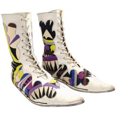 1960s Emilio Pucci Printed Pointy Lace Up Boots