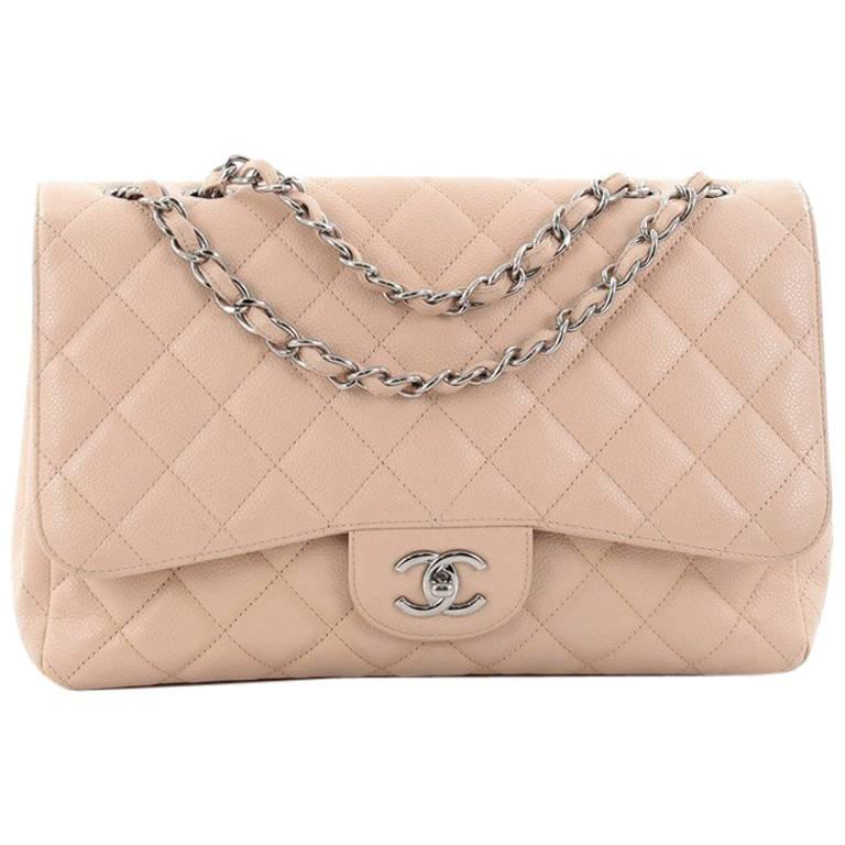 Chanel Classic Single Flap Bag Quilted Caviar Jumbo